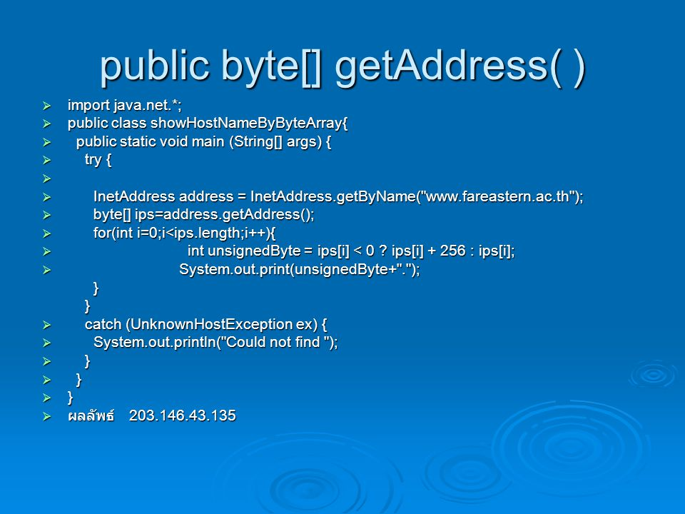 public byte[] getAddress( )